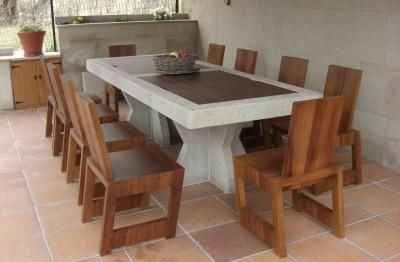 Mesa y sillas madera/piedra (2)